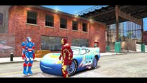 Iron Man and Iron Patriot PlayTime with Custom Blue McQueen Disney Cars FUN