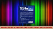 Read  Wind Energy Renewable Energy and the Environment Ebook Free