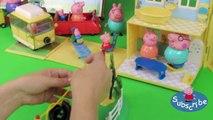 Playing Peppa Pig's Zip Line Playground Playset unpacking and playing Playing