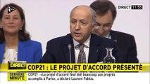 L'émotion de Laurent Fabius lors de la présentation projet d'accord final de la COP21