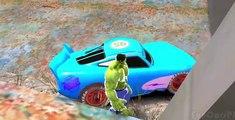 Hulk & Spiderman Car Fun! CARS Yellow & Green McQueen Avengers with Lightning McQueen