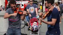 Hey Soul Sister Amazing street performer Violin Cover Songs - Street Performance