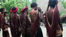 Fire lighting ceremony in a Dani village - Baliem Valley, Papua province, island of New Gu