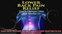 Lower Back Pain Relief  How to Eliminate Lower Back Pain For Life Health and Wellness