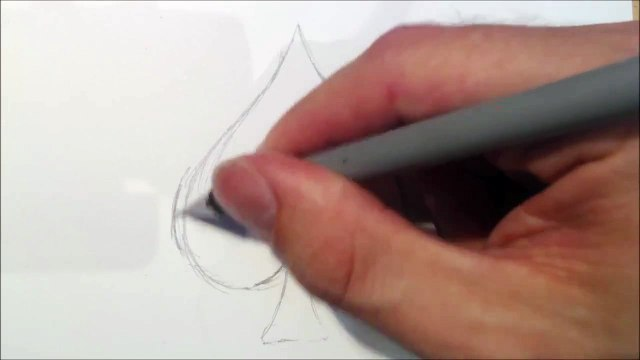 Drawing a Spade Made Of Two Swans In Love