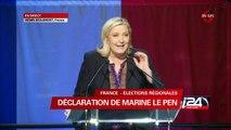 Discours de Marine Le Pen suite aux résultats des élections régionales