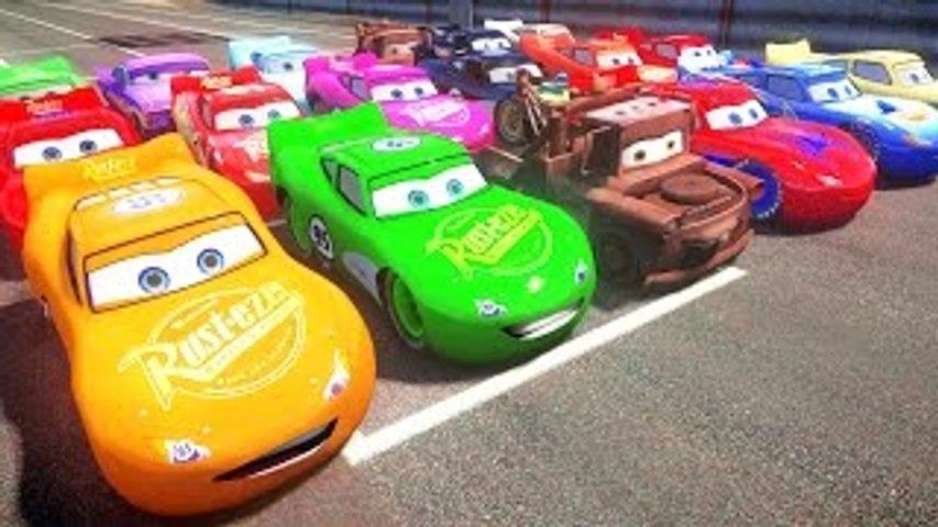 Disney Pixar Cars Lightning Mcqueen race with Rayo Dinoco Spiderman Macqueen Mater Batman