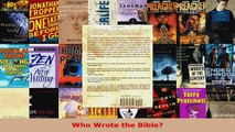 Read  Who Wrote the Bible Ebook Free