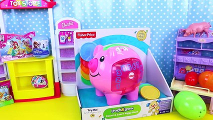 PIGGY BANK SURPRISE TOYS! Learn Numbers & Counting + Fashems, Surprise Eggs, Frozen, Barbi