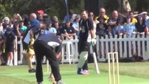 Andrew Flintoff bowls Ricky Ponting out three times at charity match – video