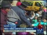 Niños y niñas compartieron con comuneros de Laguamaza