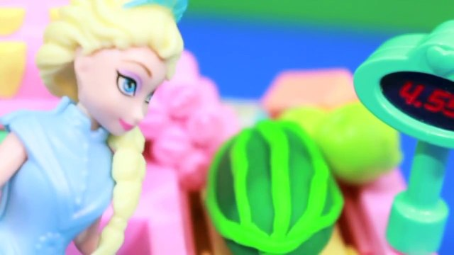 Peppa Pig goes Shopping Disney Frozen Queen Elsa Cashier Play-Doh Watermelon AllToyCollector