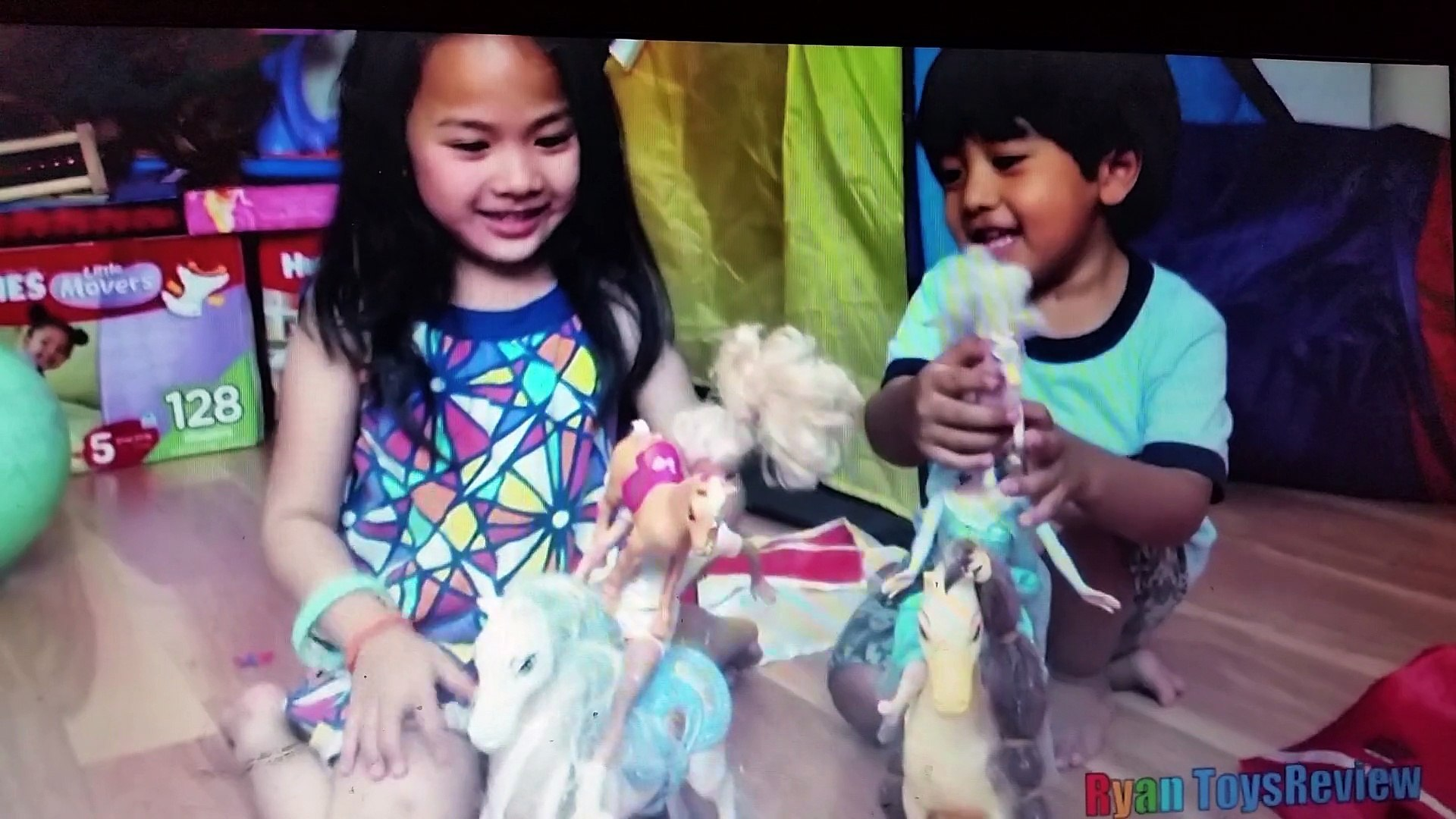 funny kids playing with toys