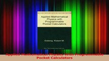 PDF Download  Applied Mathematical Physics With Programmable Pocket Calculators PDF Full Ebook