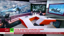 4 Russian Warships launches into Syria cruise missiles hitting Islamic State targets Break