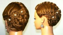Braided updo, hairstyle for medium long hair.
