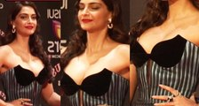 Sonam Kapoor Hot In Blue Gown Dress At Stardust Awards 2015