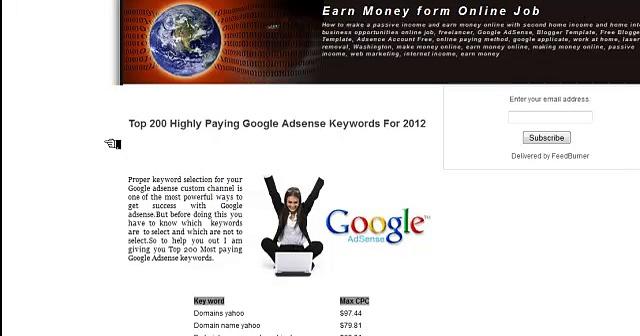 Google Adsense – High Paying Keywords