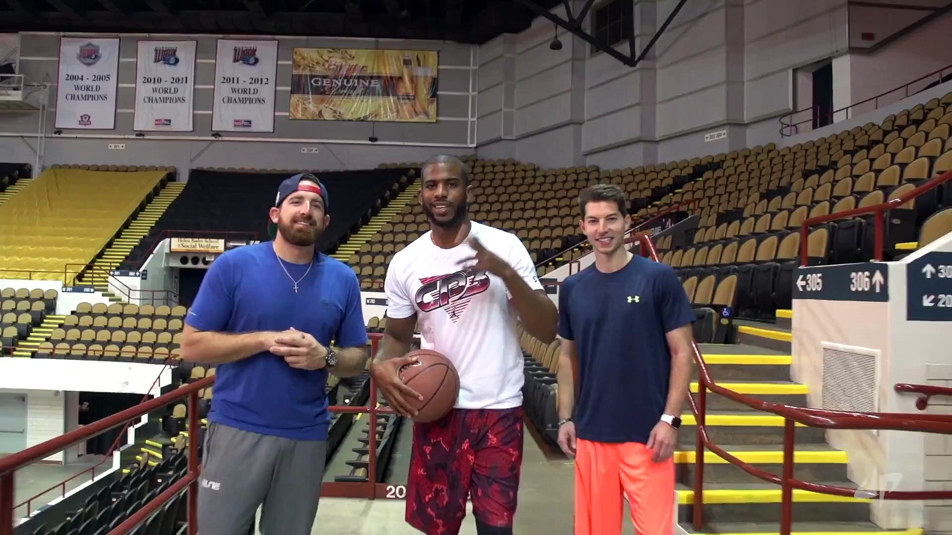NBA and NFL Players fights for best Trick Shots in a Gym! Aaron Rodgers and Chris Paul