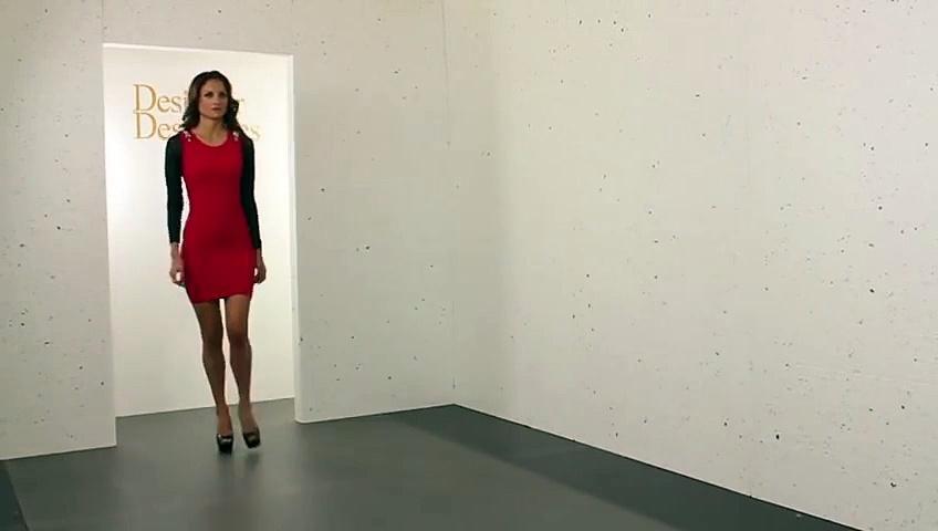 Mesh Sleeve Encrusted Shoulder Red Mini Dress – Latest Fashion Designs – Hot Models