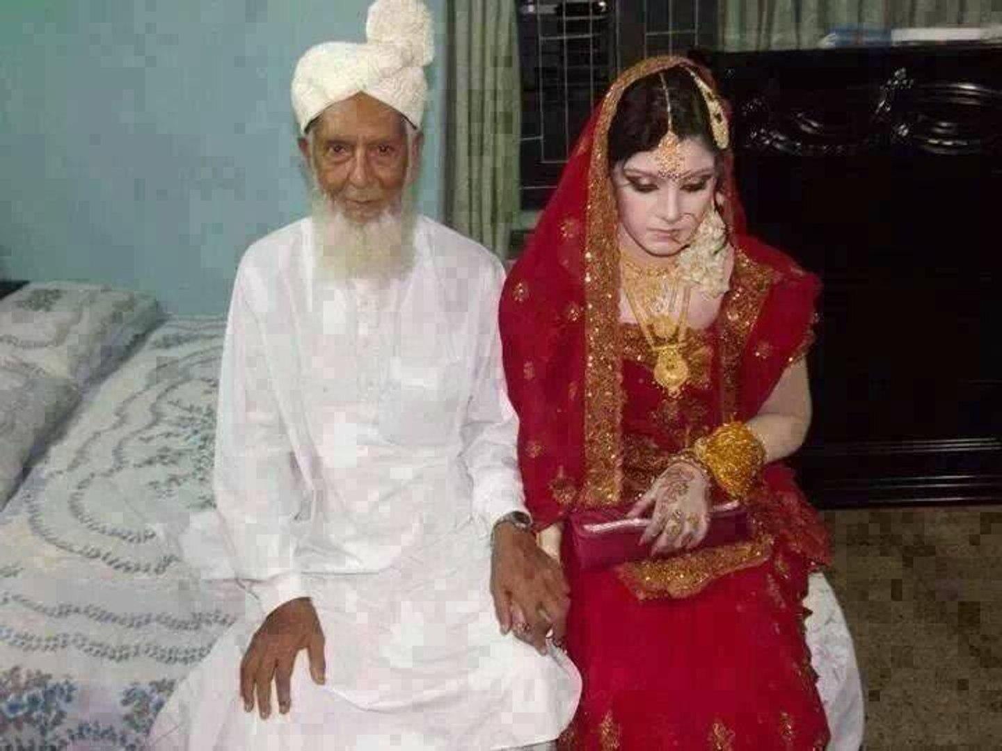 A 20-year-old young girl marrying a 75-year-old man  In many countries like  Saudi Arabia and Iran young Muslim women from poor families are brought for