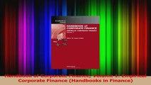 Handbook of Corporate Finance Volume 1 Empirical Corporate Finance Handbooks in Finance PDF