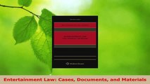 Read  Entertainment Law Cases Documents and Materials EBooks Online