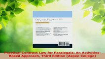 Read  Practical Contract Law for Paralegals An ActivitiesBased Approach Third Edition Aspen EBooks Online
