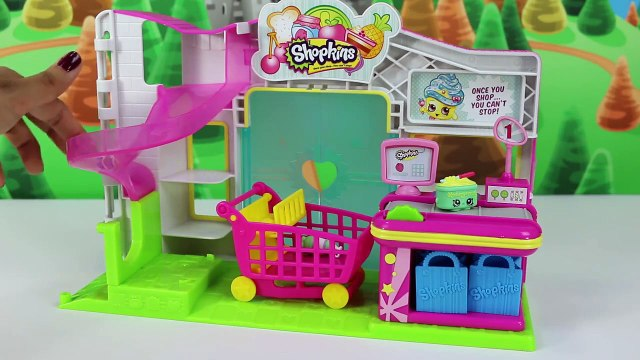 Shopkins Toys Opening New Playset with Blind Bags & Frozen's Anna and Elsa Shopping Cart Basket