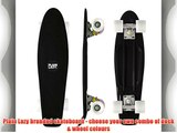 Plain Lazy Retro Cruiser Complete Skateboard 70s Style Deck (Black with White Wheels)