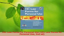 PDF Download  101 Law Forms for Personal Use 101 Law Forms for Personal Use 2nd ed Download Online