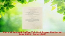 Read  Diary of Edmund Ruffin Vol 3 A Dream Shattered June 1863  June 1865 PDF Free