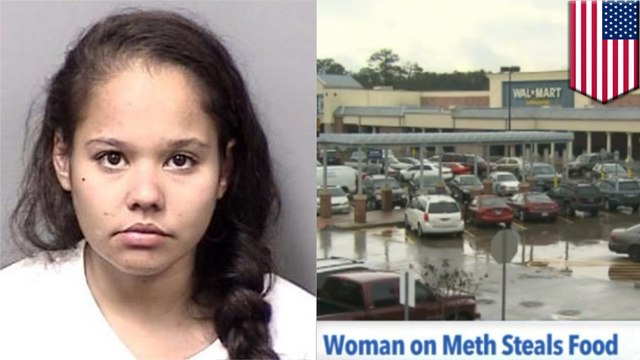Meth tweaker on motorized shopping cart chugs wine and pigs out on food in Florida Walmart