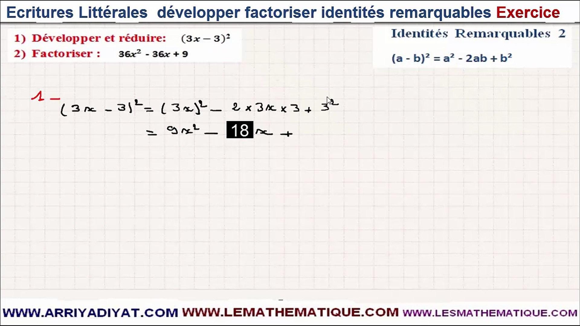 Maths 3eme Ecritures Litterales Developper Factoriser Identites Remarquables Exercice 2 Video Dailymotion