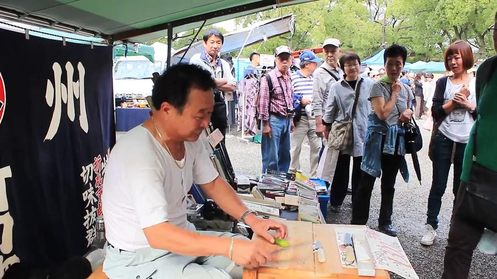 [HD] Japanese Kitchen Knife Demonstration in Kyoto
