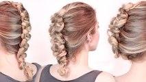 Rockstar hairstyles ★ Faux hawk braid/updo tutorial ★ Loop dutch braid, medium long hair