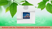 Read  School Law for Teachers Concepts and Applications PDF Online