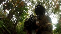 Marines Shooting With Real Firearms But Paintball Ammunition In Very Intense Urban Combat