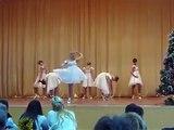 Beautiful girls dance of white swans