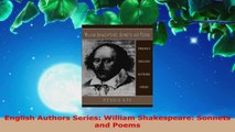 Read  English Authors Series William Shakespeare Sonnets and Poems Ebook Free