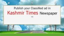 Kashmir Times Newspaper Advertisement, Ads in Kashmir Times Newspaper, Kashmir Times Classified Advertisement