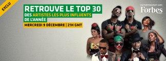 Top 30 Forbes Afrique et TRACE Africa des artistes africains les plus influents de 2015
