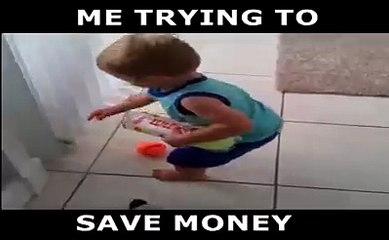me trying to save money, very funny video by cute boy baby