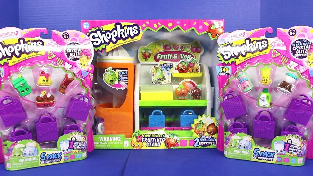 Shopkins Fruit & Veg Stand with Shopkins season 2 toys and bags Toy stories