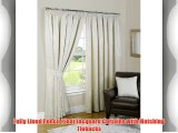 Gold and Cream Fully Lined Jacquard - Pencil Pleat Curtains with Tie Backs - Pompeii (66 Wide