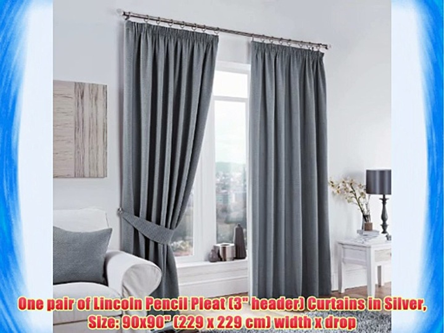 One pair of Lincoln Pencil Pleat (3 header) Curtains in Silver Size: 90x90 (229 x 229 cm) width