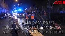 Spectaculaire accident de voiture quai Châteaubriand à Rennes