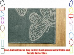 Free Butterfly Area Rug In Grey Background with Wh