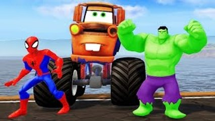 TOW MATER MONSTER TRUCK ! Spiderman & HULK + Nursery Rhymes (Songs for Kids with Action)