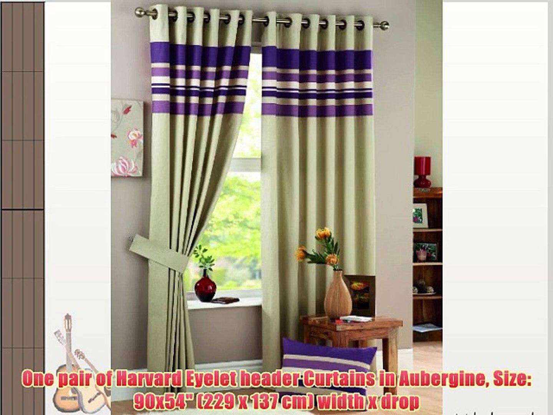 One pair of Harvard Eyelet header Curtains in Aubergine Size: 90x54 (229 x 137 cm) width x